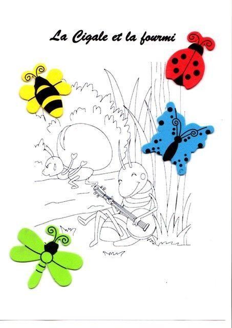 Activit manuelle insectes la cigale et la fourmi dessin de cigale - Comment dessiner une fourmi ...