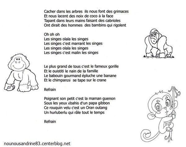 Chanson et paroles les singes chanson maternelle asie - Animaux afrique maternelle ...