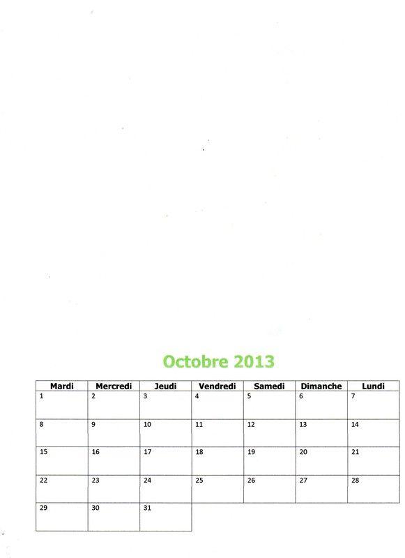 Calendrier 2013 : Octobre 2013