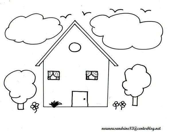 Activit manuelle maison colorier - Dessin de maison facile ...