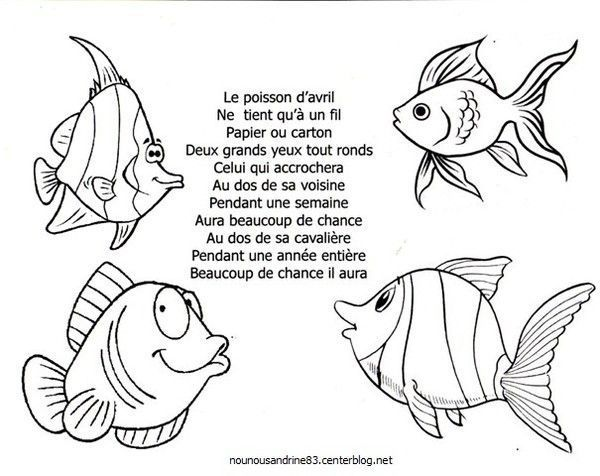 Poisson avril comptines - Coloriage poisson maternelle ...