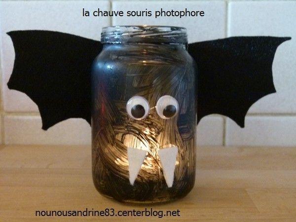 activit manuelle halloween photophore chauve souris. Black Bedroom Furniture Sets. Home Design Ideas