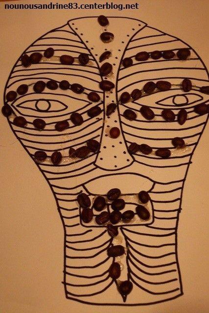 Activit manuelle masque africain - Dessin de masque africain ...