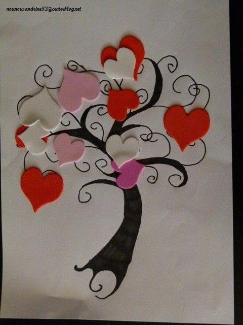 Activit manuelle saint valentin gommettes arbre coeurs - Pinterest st valentin bricolage ...