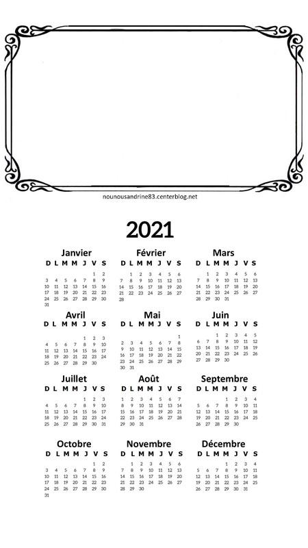calendrier 2021 à personnaliser