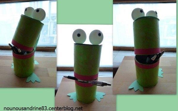 Animaux grenouilles - Activite manuel avec rouleau papier toilette ...
