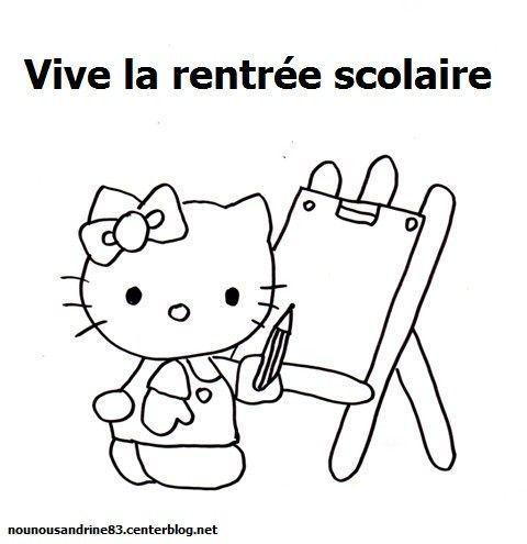 Activit manuelle rentr e scolaire coloriage hello kitty - Dessin rentree ...