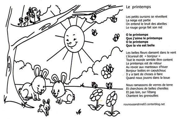 Activit manuelle coloriage chanson du printemps - Coloriage du printemps ...