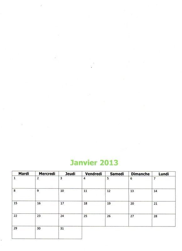 Calendrier 2013 : Janvier 2013