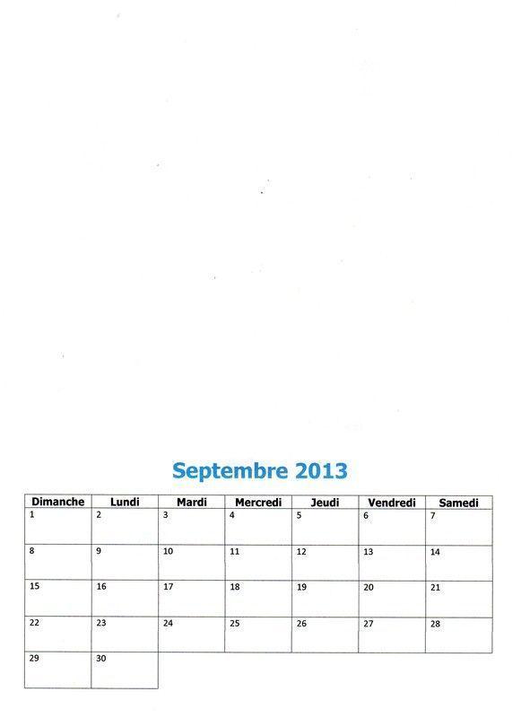 Calendrier 2013 : Septembre 2013