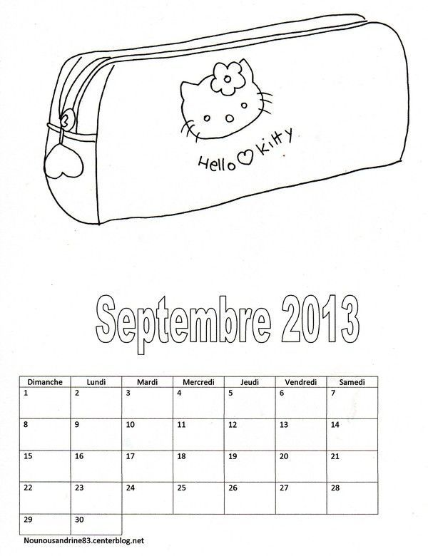 activit manuelle calendrier 2013 hello kitty septembre. Black Bedroom Furniture Sets. Home Design Ideas