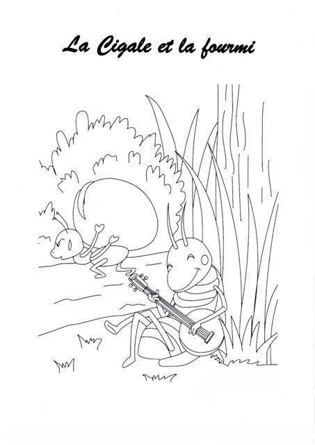 Animaux insectes abeille page 4 - Coloriage la cigale et la fourmi ...