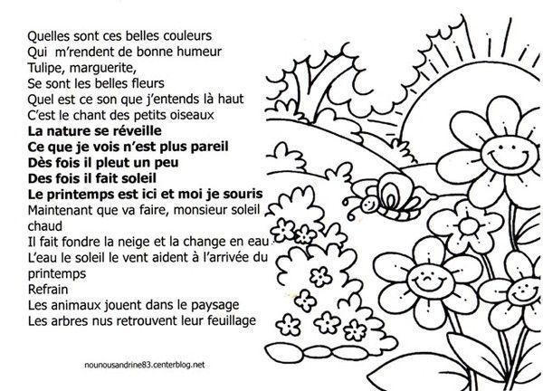 Coloriage Saison Printemps.Activite Manuelle Coloriage Chanson Du Printemps