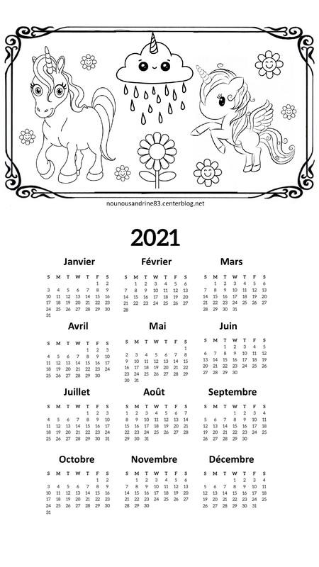 calendrier 2021 licorne