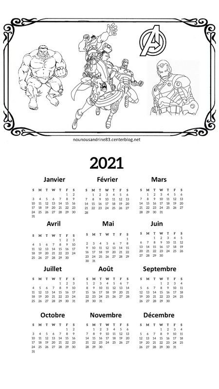 calendrier 2021 marvel