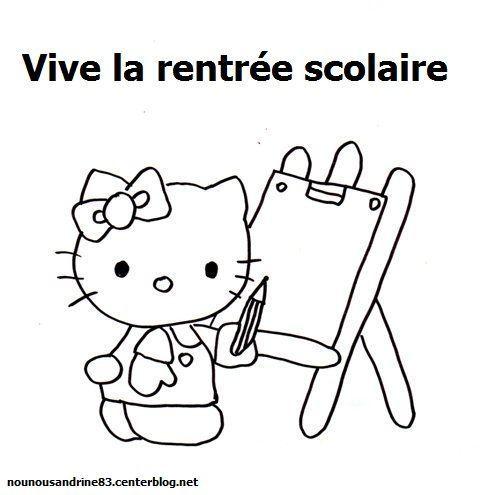 Activit manuelle rentr e scolaire coloriage hello kitty - Coloriage rentree ...