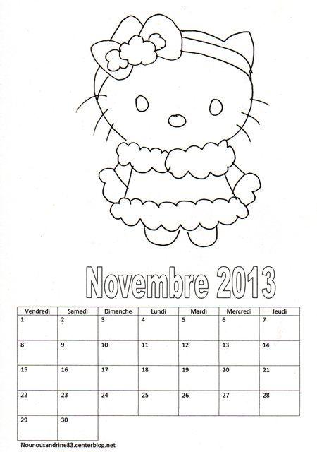 activit manuelle calendrier 2013 hello kitty novembre. Black Bedroom Furniture Sets. Home Design Ideas