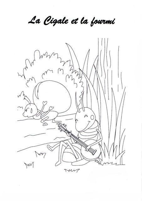 Activit manuelle insectes la cigale et la fourmi - Dessin de cigale ...